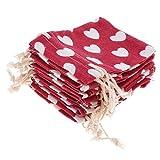 Prettyia Sacchetti del Regalo della Festa Nuziale delle Borse del Cordone Dell'imballaggio di 10Pcs 7 di Stile dei Gioielli - Rosso, 8 x 10cm