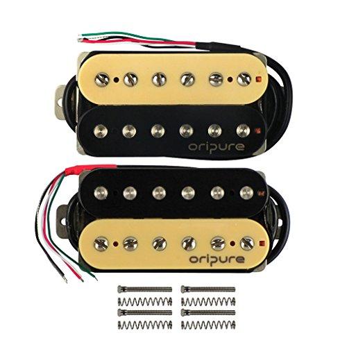 tarre Double Coil Humbucker Set Neck/Bridge (50mm/52mm) Tonabnehmer für E-Gitarre Teil, Zebra (P90 Pickups Gitarre)