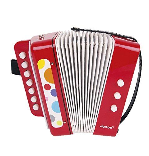 Janod Holzspielzeug - Kinder Instrument Akkordeon - Konfetti Design - Musikinstrument, 18 x 17 x 10cm,, Mehrfarbig