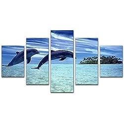 5 paneles Giclee lienzo impresiones arte de pared juego de pintura temática océano azul mar delfín imagen para baño decoración del hogar estirado y enmarcado listo para colgar, Small 100cmX55cm