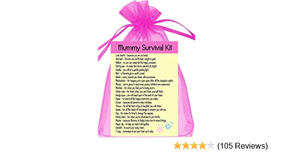 MUMMY TO BE SURVIVAL KIT MUM BABY SHOWER GIFT MUM FAVOUR PINK BOX AND STICKER