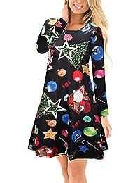 Chica de Santa Claus de la Navidad de la muchacha de las mujeres Vestido Fling del oscilación del vestido