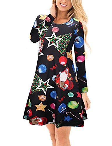 Mädchen-Weihnachts-lange Hülse Sankt-Stern-Weihnachtsdruck-Schwingen-Kleid