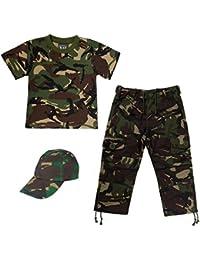 KAS KIDS ARMY SET CAMO SOLDIER CADET - T-Shirt, Trouser & Cap Age 7/8