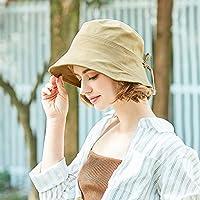 RUIJIJ Protector Solar De Verano Pescador De Las Mujeres Sombrero, 100% Algodón Anti-UV Sombrero Sombrero De Sol De Verano Japonés Sombrero De Sol, De Color Caqui, De Protección Solar Transpirable, Vi