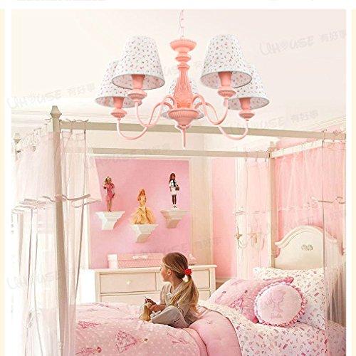 MEILING Reizende einfache Kronleuchter-Prinzessin-Mädchen-Kind-Raum-Schlafzimmer-Studie-Lampen-Rosa-Augen-Schutz-Tuch-Beleuchtung -
