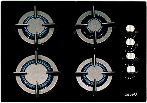 Cata Schwarzes Gaskochfeld 60cm / Gas Kochfeld 60 cm Autark/Gasherd /Kochfeld/ Gas auf Schwarzem Glas/ Glaskeramik Gaskochfeld Einbau / Kochfeld/ 4 Hochwertige Brenner/ Gas Control / Gas-kochstelle//Gaskocher/Glas Schwarz/Kochmulde/Erdgas und Propangas möglich/ Spanischer Markenhersteller seit 1947/