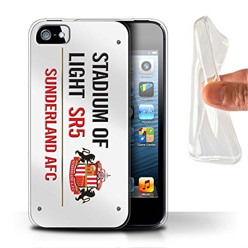 Officiel Sunderland AFC Coque / Etui Gel TPU pour Apple iPhone 5/5S / Pack 6pcs Design / SAFC Stadium of Light Signe Collection Blanc/Rouge