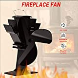 TOMERSUN 3 Blades Heat Powered Stove Fan for Wood/Log Burner/Fireplace