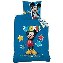 Mickey–Juego de cama: funda de edredón (140x 200) + funda de almohada (63x 63)–100% algodón–Estampado Story
