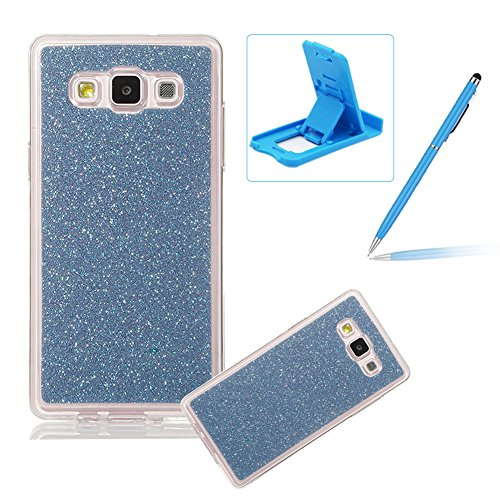 Coque Galaxy E7, Housse Etui pour Samsung E7, Herzzer Coque en Silicone Luxe Glitter Bling Crystal Rainbow Gradient Couleur Design Cover Ultra Mince Flex Soft Skin Extra Slim TPU Case Cover Protecteur Bleu