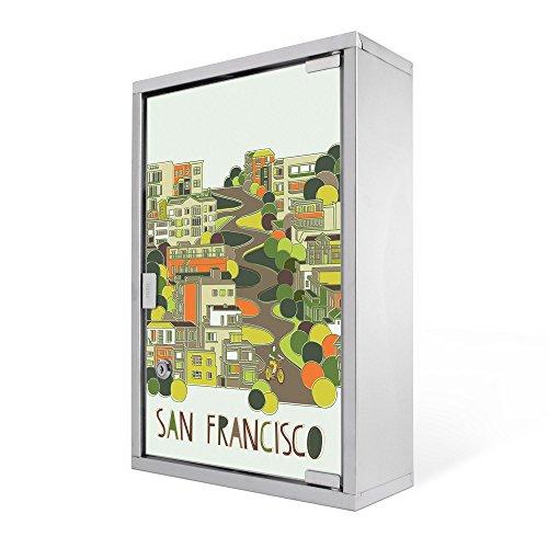 #Medizinschrank groß Edelstahl abschliessbar 30x45x12cm Arzneischrank Medikamentenschrank Hausapotheke Erste Hilfe Schrank Motiv San Francisco Print#