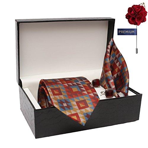 100% Silk Summer Edition Stain Resistant Necktie, Pocket SQUARE, LAPEL PIN Cufflinks...
