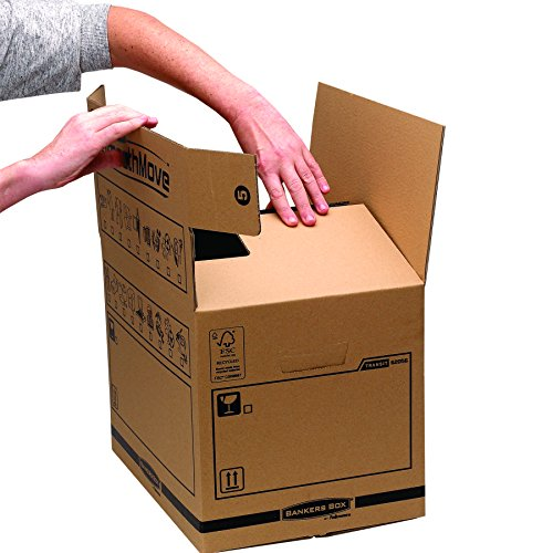 Bankers Box Umzugsbox SmoothMove klein (aus 100% recyceltem Karton, 10er Packung) braun - 2