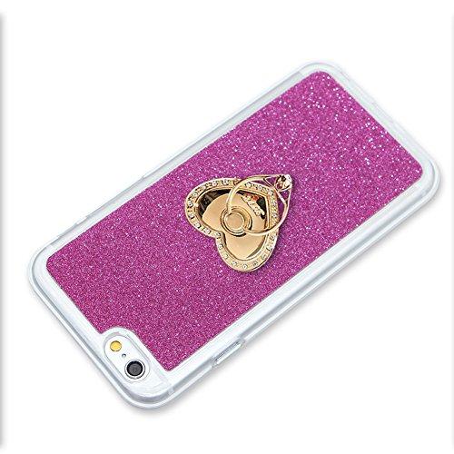 Für iPhone 7 4.7 Zoll Schrittweise Farbwechsel TPU Cover, Herzzer Bling Glitter Schutz Hülle mit Liebe Herzen Ring Halter, Luxus Sparkles Glänzend Glitzer Silikon Crystal Case Durchsichtig Soft Rückse Rose Rot Ring Halter