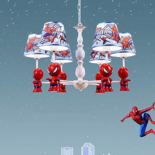 Modern Light Cartoon Spiderman Led Eisen Hängelampen Jungen Schlafzimmer Kinderzimmer Dekor Licht Pendelleuchte Beleuchtung Leuchte, 5 Köpfe, weiße Lichter -