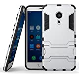 DWay Funda Meizu MX5 Pro Hybrid Armor Design con Stand-up Feature 2 In 1 Combo Dual Layer Detachable Protective Shell Phone Hard Espalda Carcasa Funda para Meizu MX5 Pro 5.7inches / Meizu Pro 5 (Silver)