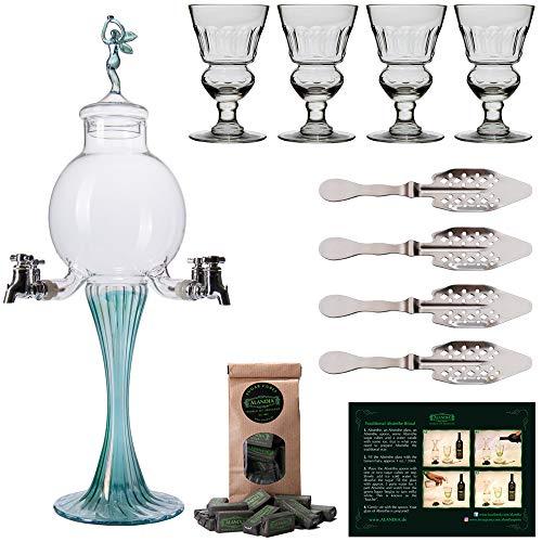 ALANDIA Absinth Zubehör Set | 1X Absinth-Fontäne Grüne Fee | 4X Absinth-Gläser | 4X Absinth-Löffel | 1X Absinth-Zucker