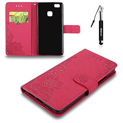 e, Huawei P9 Lite Tasche Leder, Huphant Flip Case Leder [Glitzer Imprited Peacock Flower Serie]PU Leather Case Wallet Case Magnet Case Book Case Schutzhülle Klappbar für Huawei P9 Lite(5,2 Zoll)+1X Schwarzer Stylus Touchscreen Pen - Rot (Peacock Make Up)