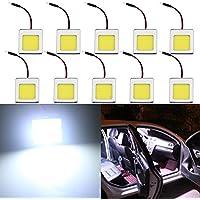 GrandView 10pcs Súper Blancas de 480 Lúmenes COB 48-SMD Panel de Luz de Techo del Automóvil Lectura Interior del Techo del Techo Bombilla Interior con Adaptador T10/BA9S/ Adorno (DC-12V)