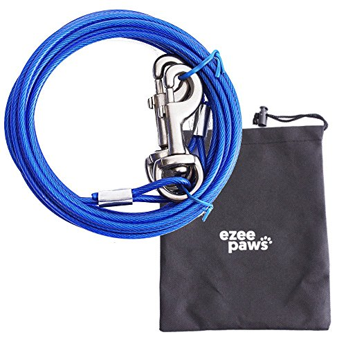 Ezee Paws Dog Tie Out Cable with Storage Bag 10ft (3m)