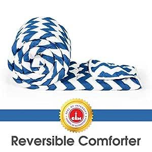 Divine Casa Microfibre Comforter/Blanket/Quilt/Duvet Lightweight, All Weather, Reversible Single Comforter, Sky Blue and White - Stripes (110 GSM)