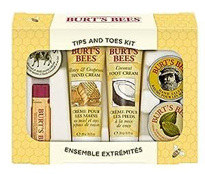 Burt's Bees, Kit da regalo per mani e piedi, incl. 1 crema per cuticole al limone (8,5 g), 1 balsamo per le mani (8,5 g), 1 crema per i piedi al cocco (20 g), 1 crema per le mani al miele e vinaccioli (20 g) e 1 al latte e alle mandorle (7 g), 1 balsamo labbra all'olio di melograno (4,25 g)