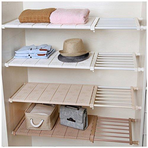 Vancore mensola armadio regolabile mensola senza foratura, regolabile di stoccaggio armadio scaffale - larghezza: 30cm, lunghezza: 53cm ~ 90cm