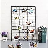 ShouYu DIY Grid Panel Foto Wand,Wandgitter,ins Mesh Wand,Multifunktion Gitterwand Deko,Memo Brett Organisator Regale (65*45cm,Schwarz)
