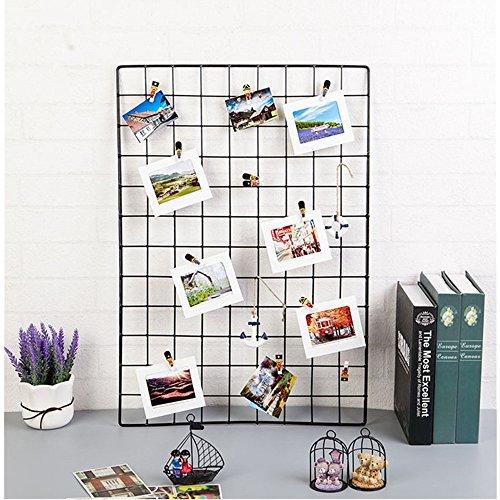 ShouYu DIY Grid Panel Foto Wand,Wandgitter,ins Mesh Wand,Multifunktion Gitterwand Deko,Memo Brett Organisator Regale (65*45cm,Schwarz) -