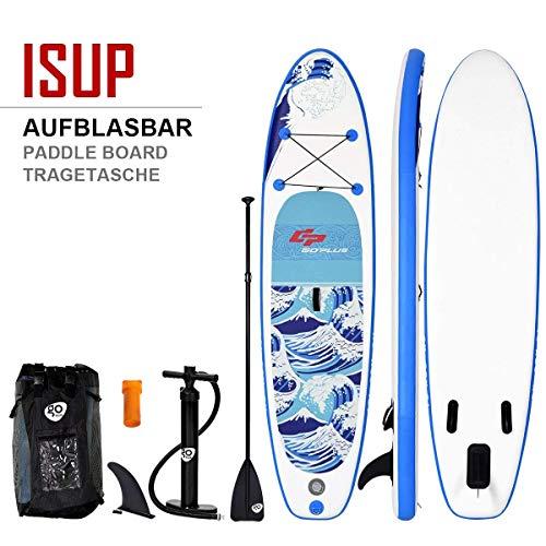 COSTWAY Sup-Board aufblasbar, Surfboard bis 200 kg, Paddelboard mit Pumpe, Paddelbrett mit Alu-Paddel, Stand up Board Set 305 x 80 x 15cm