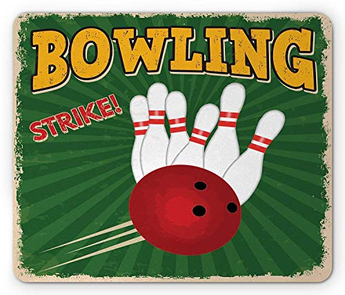 Vintage Mouse Pad, Bowling Balls and Pins Design Western Sport Hobby Leisure Winner Artsy Art Print, Standard Size Rectangle Non-Slip Rubber Mousepad, Multicolor