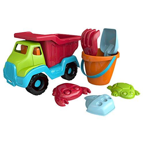 ColorBaby Set de playa: camión 30 cm, pala, rastrillo, cubo con asas y 3 moldes (43505)