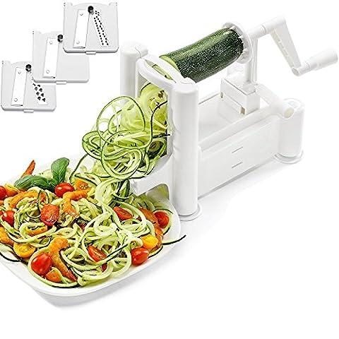 ADOV® Spiralizer Tri-Blade Trancheuse végétale Trancheuse végétale végétale Strong Zucchini Heavy Duty Spaghetti pâtes Maker nouilles pour faible Carb, Paleo, repas sans gluten