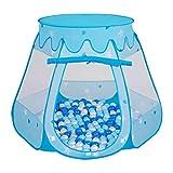 Selonis Baby Spielzelt Mit Plastikbällen Bällebad Zelt Plastikkugel Kinder, Blau:Babyblau-Blau-Perle,105X90cm/100 Bälle