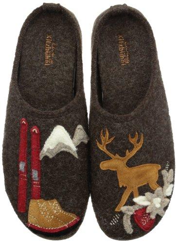 Braune Winter-ski-stiefel (Living Kitzbühel Pantoffel Schi & Hirsch mit Fußbett, Damen Flache Hausschuhe, Braun (285 mocca), 41 EU)