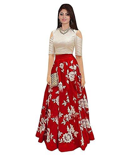 Women'S Brocade, Velvet Lehenga Saree Lehenga Choli (Ramapir Fashion_Red_Free Size) Maa Enterprize