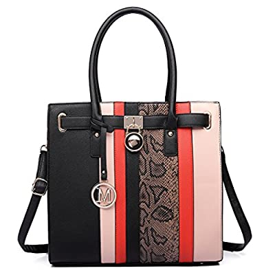 Miss Lulu Women Handbag Faux Leather Snake Skin Contrasting Stripe Cross Body Shoulder Satchel Tote Bag with Padlock