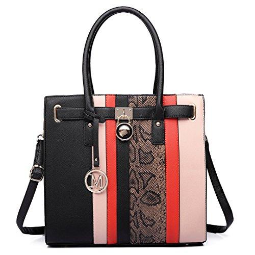 Miss Lulu Schultertasche Aktentasche Damen PU Leder Shopper Handtasche Umhängetasche Tote Bag 34 X 33 X 11 (LT6620 Schwarz)