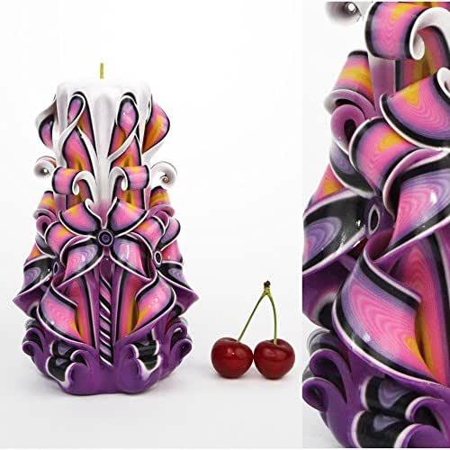 Candela - Idea regalo di compleanno per le donne e per gli uomini Giorno del padre - Decorazione in legno intagliata a mano - EveCandles