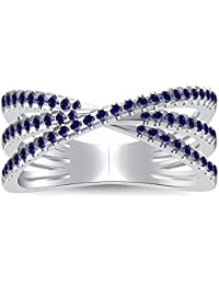 Silvernshine 14K White Gold Plated 2.35Ctw Blue Sapphire CZ Diamonds Split Shank Engagement Ring