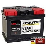 LANGZEIT STARTER Serie 12V 44Ah - 105Ah Autobatterie Starterbatterie, KFZ PKW Batterie (65Ah)
