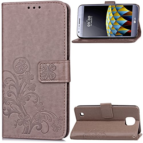 LG X Cam case, None Daily LG X Cam Daily Built-in Stand Function for LG X Cam – Grey Leather (Pack Slip Full 5)