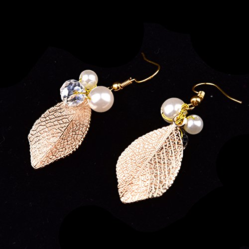 Oshide Haarschmuck Hochzeit Vintage Gold Perlen Haarband Mit Blatt Ohrring Schmuck Set - 6