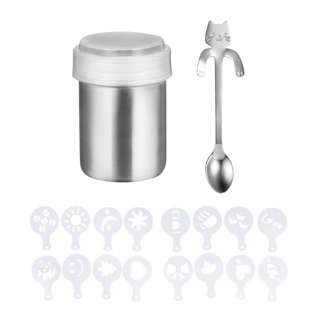 Panlom-7oz-Stainless-Steel-Chocolate-Kitchen-Craft-Shaker-Icing-Sugar-Salt-Cocoa-Flour-Cappuccino-Mince-Pies-Pancakes-Coffee-Sifter-16-x-Cappuccino-Coffee-Stencils-Mini-Cat-Coffee-Spoon