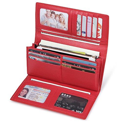 JEEBURYEE RFID Leder Geldbörse Damen Portemonnaie Clutch mit Knopf Lange Groß Damen Handtasche Geldbeutel für Frauen Rot