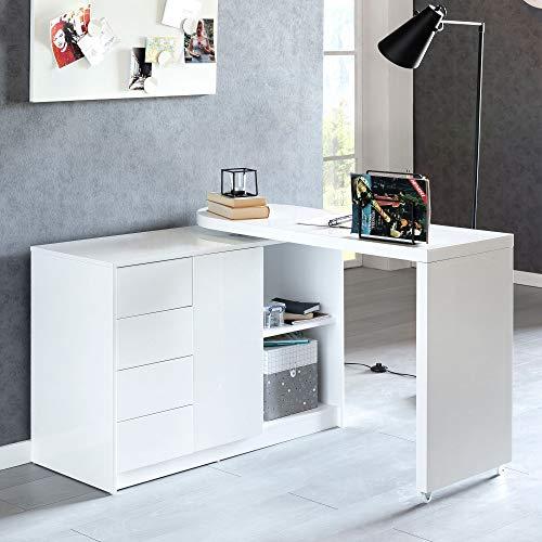 FineBuy Schreibtisch Nomi 166 x 42 x 77 cm groß weiß Hochglanz Computertisch   Bürotisch 115 cm breit   PC-Tisch mit Metallbeinen   Home Office Konsole modern