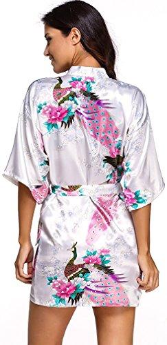 FLYCHEN Damen satin Morgenmantel Pfau und Blüten japanische kurze Kimonos Weiß-7