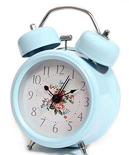 YOIL Kreativer Retro- Blumen-Wecker mit Nachtlicht für Kinderkinderstudenten (Blau)