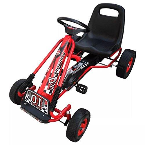 SENLUOWX Go Kart für Kinder Rot Kinderfahrzeug Verstellbarer Sitz Kinderauto 96 x 60 x 56 cm